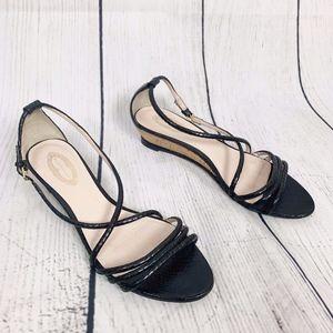 Elie Tahari Black Sandals Slight Wedge Heel